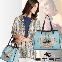 ETRO Flower Patterns Paisley Casual Style Calfskin Tassel Totes
