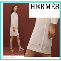 HERMES Short Cashmere V-Neck Long Sleeves Plain Elegant Style