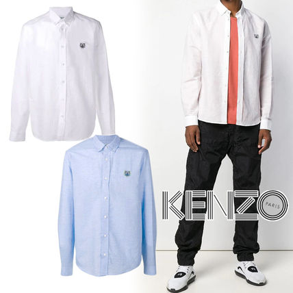 KENZO Shirts Button-down Linen Blended Fabrics Street Style Long Sleeves