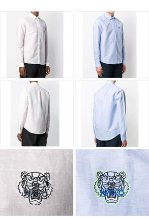 KENZO Shirts Button-down Linen Blended Fabrics Street Style Long Sleeves 3