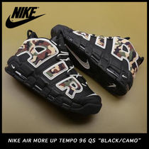 Nike AIR MORE UPTEMPO Camouflage Street Style Sneakers