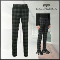 BALENCIAGA Tapered Pants Other Check Patterns Wool Blended Fabrics