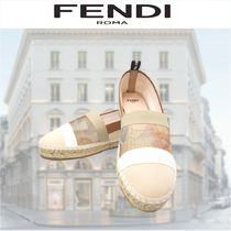 FENDI Flower Patterns Casual Style Street Style Logo Slip-On Shoes