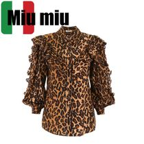 MiuMiu Leopard Patterns Casual Style Silk Long Sleeves Medium