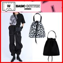BASIC COTTON Casual Style Unisex Street Style Shoulder Bags