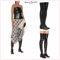 Maison Martin Margiela Tabi Square Toe Casual Style Plain Leather Over-the-Knee Boots