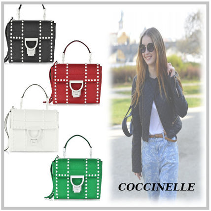Casual Style Calfskin Studded 2WAY Plain Shoulder Bags