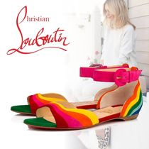 Christian Louboutin Open Toe Leather Elegant Style Espadrille Shoes