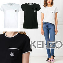 KENZO Crew Neck Street Style Plain Cotton Short Sleeves Logo