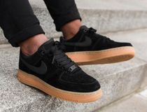 Nike AIR FORCE 1 Rubber Sole Lace-up Unisex Suede Street Style Plain