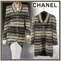 CHANEL Stripes Tweed Medium Elegant Style Coats