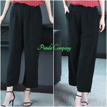 Casual Style Plain Medium Cropped & Capris Pants