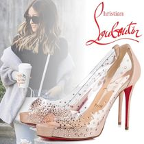 Christian Louboutin Open Toe Platform Blended Fabrics Plain PVC Clothing
