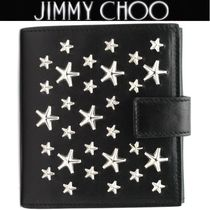 Jimmy Choo Studded Plain Leather Folding Wallets