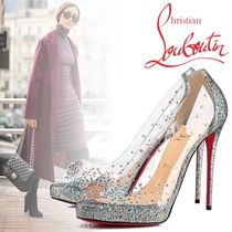 Christian Louboutin Open Toe Platform Blended Fabrics Plain Party Style
