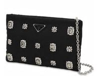 PRADA 2WAY Chain Plain Party Style With Jewels Clutches