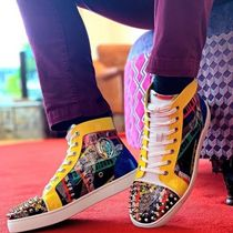 Christian Louboutin Blended Fabrics Studded Street Style Leather Sneakers