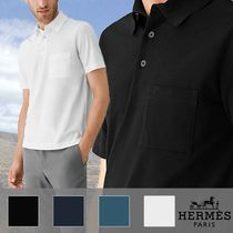 HERMES Button-down Plain Cotton Short Sleeves Polos