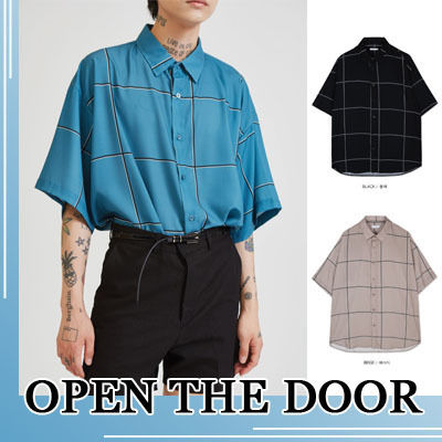 OPEN THE DOOR Shirts Street Style Short Sleeves Shirts