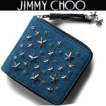 Jimmy Choo Unisex Studded Plain Folding Wallets