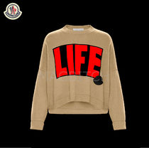 MONCLER Crew Neck Casual Style Cashmere Street Style Long Sleeves