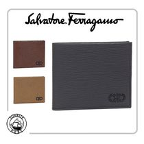 Salvatore Ferragamo Calfskin Street Style Plain Folding Wallets