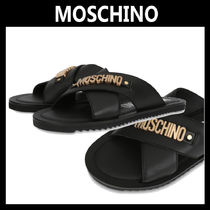 Moschino Blended Fabrics Plain Leather Shower Shoes Shower Sandals