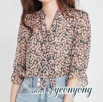 Flower Patterns Casual Style Cropped Medium Shirts & Blouses