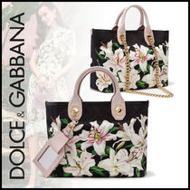 Dolce & Gabbana Flower Patterns Canvas Blended Fabrics 2WAY Chain