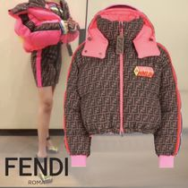 FENDI Nylon Blended Fabrics Bi-color Medium Down Jackets