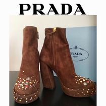 PRADA Platform Round Toe Suede Plain With Jewels Elegant Style