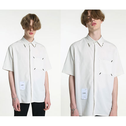 Shirts Unisex Street Style Plain Short Sleeves Oversized Logo 7