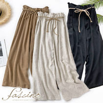 Casual Style Linen Plain Long Pants