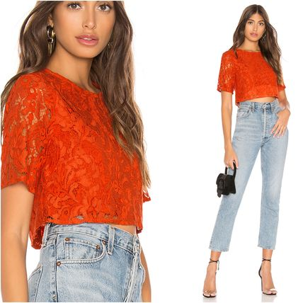 Short Casual Style Plain Short Sleeves Lace Cropped