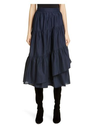 Flared Skirts Plain Cotton Long Maxi Skirts