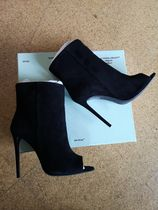 Off-White Open Toe Suede Plain Pin Heels Ankle & Booties Boots