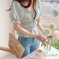 Short Casual Style Peplum Plain Cotton Cropped