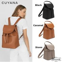 CUYANA 2WAY Plain Leather Elegant Style Backpacks