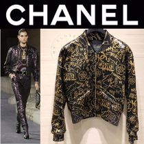 CHANEL ICON Short Monogram Blended Fabrics Street Style Chain Leather