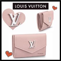 Louis Vuitton LOCKME Calfskin Plain Folding Wallets