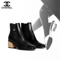 CHANEL Square Toe Blended Fabrics Street Style Plain Leather