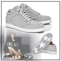 Jimmy Choo Plain Toe Rubber Sole Casual Style Blended Fabrics Leather