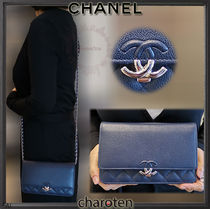 CHANEL CHAIN WALLET Calfskin 3WAY Chain Plain Elegant Style Shoulder Bags