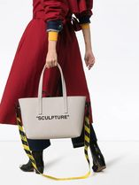 Off-White Casual Style Unisex Canvas Street Style A4 2WAY Plain Totes