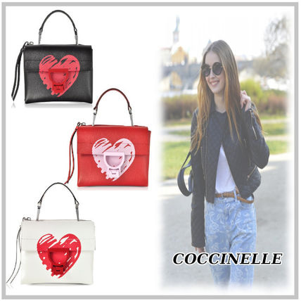 Heart Casual Style Street Style 2WAY Bi-color Leather
