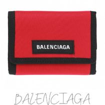 BALENCIAGA Unisex Nylon Street Style Bi-color Folding Wallets