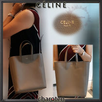 CELINE Cabas Casual Style Unisex Calfskin 3WAY Plain Totes