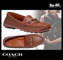 Coach CROSBY Round Toe Rubber Sole Casual Style Chain Plain Leather