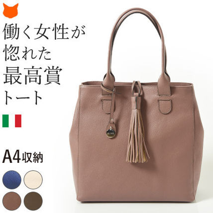Tassel A4 Plain Leather Elegant Style Totes