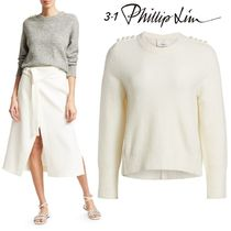 3.1 Phillip Lim Crew Neck Long Sleeves Plain Medium Elegant Style Sweaters